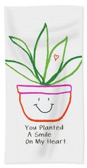 Hand Towel featuring the mixed media You Planted A Smile- Art By Linda Woods by Linda Woods
