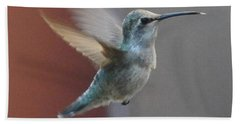 Young Anna's Hummingbird In Flight Bath Towel