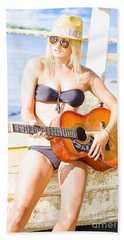 Young Attractive Blonde Woman Playing Guitar Hand Towel