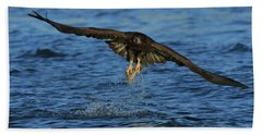 Hand Towel featuring the photograph Young Bald Eagle Catching Fish by Coby Cooper