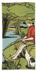 Young Boy Sitting On A Log Fishing In A Small River In The Country With His Cat Hand Towel
