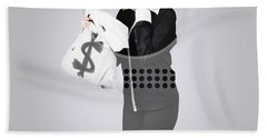 Young Business Person Holding Money At Bank Teller Hand Towel