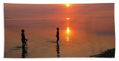 Young Fishermen At Sunset Hand Towel
