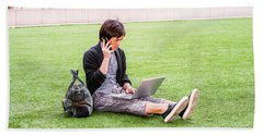 Young Japanese Man Traveling, Working In New York 15041418 Hand Towel