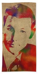 Young Johnny Carson Watercolor Portrait Hand Towel