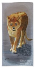 Young Male Lion Hand Towel