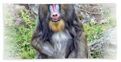 Young Mandrill Fade To White Version Bath Towel by Jim Fitzpatrick