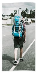 Young Person Hiking With Backpack Hand Towel