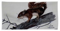 Hand Towel featuring the painting Young Squirrel by Judy Kirouac