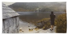 Young Tasmanian Hiking Tourist Taking Lake Photo Bath Towel