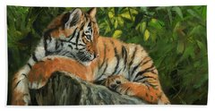 Bath Towel featuring the painting Young Tiger Resting On Rock by David Stribbling
