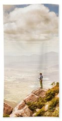 Young Traveler Looking At Mountain Landscape Hand Towel