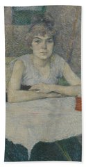 Young Woman At A Table Hand Towel