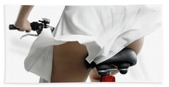 Young Woman On A Bicycle Hand Towel