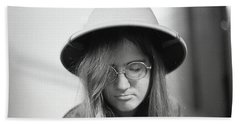Young Woman With Long Hair, Wearing A Pith Helmet, 1972 Bath Towel