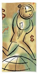 Hand Towel featuring the painting Your Income by Leon Zernitsky
