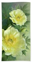 Yumi Itoh Peony Hand Towel by Thanh Thuy Nguyen