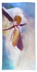 Winter Abstract - Snow And Ice On Rhododendron Leaves Hand Towel