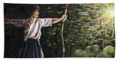 Hand Towel featuring the painting Zanshin by Hiroko Sakai