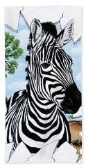 Bath Towel featuring the painting Zany Zebra by Teresa Wing