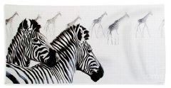 Zebra And Giraffe Bath Towel