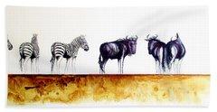Zebra And Wildebeest Bath Towel