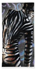 Hand Towel featuring the painting Zebra Boy At Dawn by Rene Capone