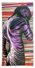 Hand Towel featuring the painting Zebra Boy Battle Wounds by Rene Capone