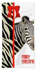 Zebra Christmas Card Bath Towel by Rosalie Scanlon