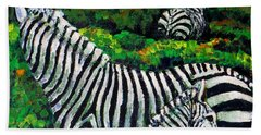 Zebra Family Bath Towel by Shirley Heyn