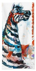 Zebra Gets A Ride The Ocean City Boardwalk Carousel Hand Towel
