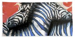 Hand Towel featuring the painting Zebra In Love by Rene Capone
