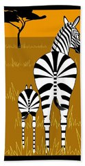Zebra Mare With Baby Bath Towel