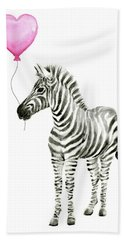 Zebra Watercolor Whimsical Animal With Balloon Hand Towel