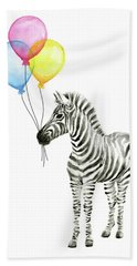 Zebra Watercolor With Balloons Hand Towel