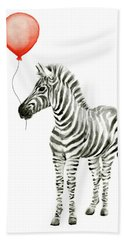 Zebra With Red Balloon Whimsical Baby Animals Hand Towel
