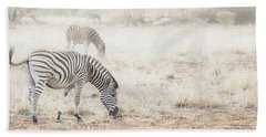 Zebras In Dreamy Scene - Horizontal Banner Hand Towel