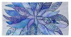 Bath Towel featuring the drawing Zen Flower Mandala by Megan Walsh