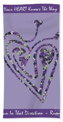 Zen Heart Labyrinth Floral Bath Towel