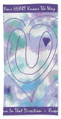 Zen Heart Labyrinth Pastel Bath Towel