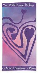 Zen Heart Labyrinth Path Bath Towel