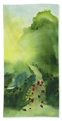 Bath Towel featuring the painting Zen Mountain by Frank Bright