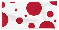 Hand Towel featuring the digital art Zen Sphere Red On White by Bruce Stanfield