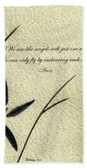 Zen Sumi 4d Antique Motivational Flower Ink On Watercolor Paper By Ricardos Bath Towel