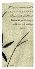 Hand Towel featuring the mixed media Zen Sumi 4n Antique Motivational Flower Ink On Watercolor Paper By Ricardos by Ricardos Creations