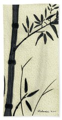 Zen Sumi Antique Bamboo 1a Black Ink On Fine Art Watercolor Paper By Ricardos Bath Towel