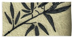 Zen Sumi Antique Botanical 4a Ink On Fine Art Watercolor Paper By Ricardos Bath Towel