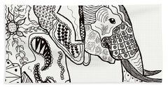 Zentangle Elephant Bath Towel