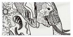 Zentangle Elephant Hand Towel