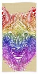 Zentangle Inspired Art- Rainbow Wolf Bath Towel